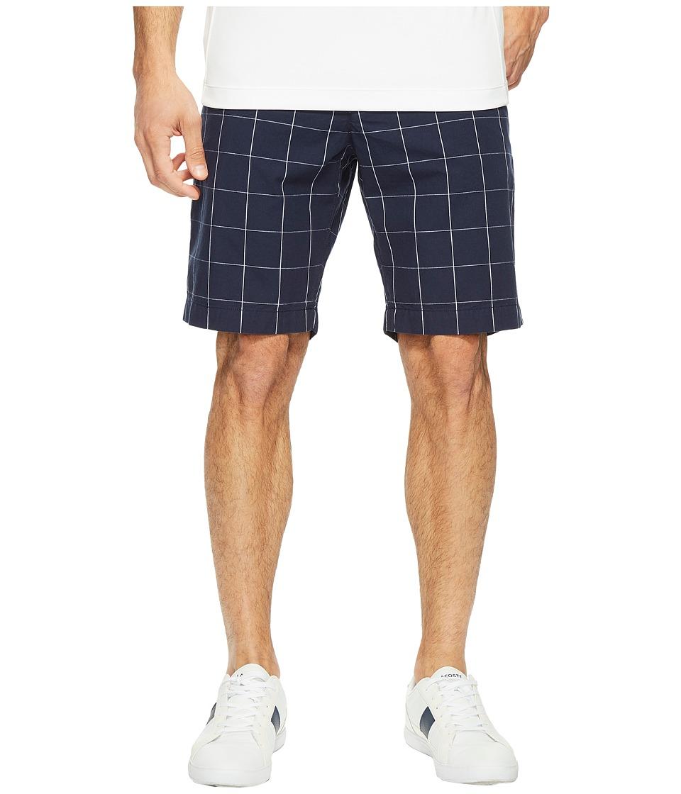 Lacoste Windowpane Check Bermuda Shorts (Navy Blue/White) Men