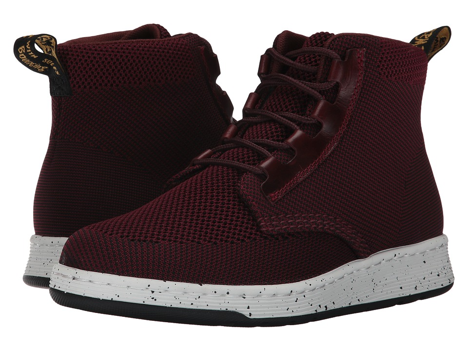 Dr. Martens Telkes Knit Padded Collar Boot (Oxblood/Black Kint Textile/Oxblood Brando) Women