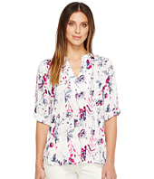 Ivanka Trump - Roll Up Sleeve Tunic Printed Blouse