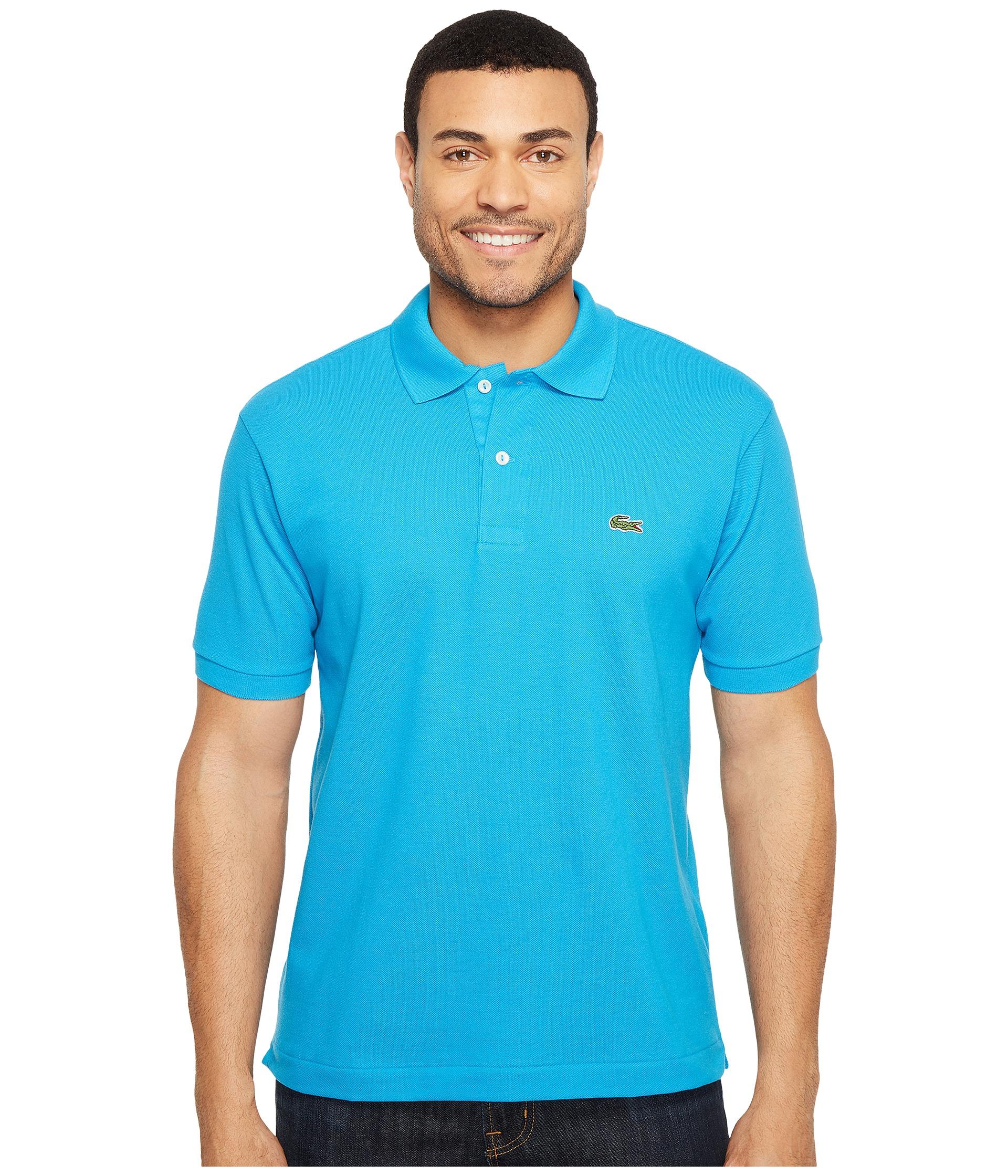 Lacoste l1212 classic pique polo shirt loire blue zappos for Lacoste size 4 polo shirt