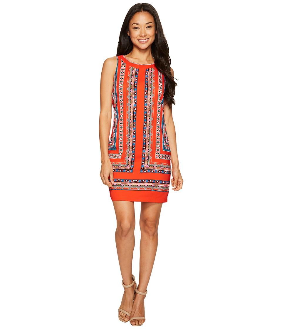 Vince Camuto Specialty Size Petite Sleeveless Havana Geo Shift Dress (Red Hot) Women