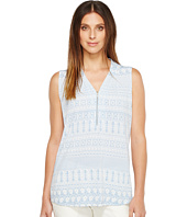 Ivanka Trump - Printed Matte Jersey Sleeveless Zipper Detail Top