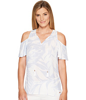 Ivanka Trump - Printed Georgette Cold Shoulder with Tassel Ties