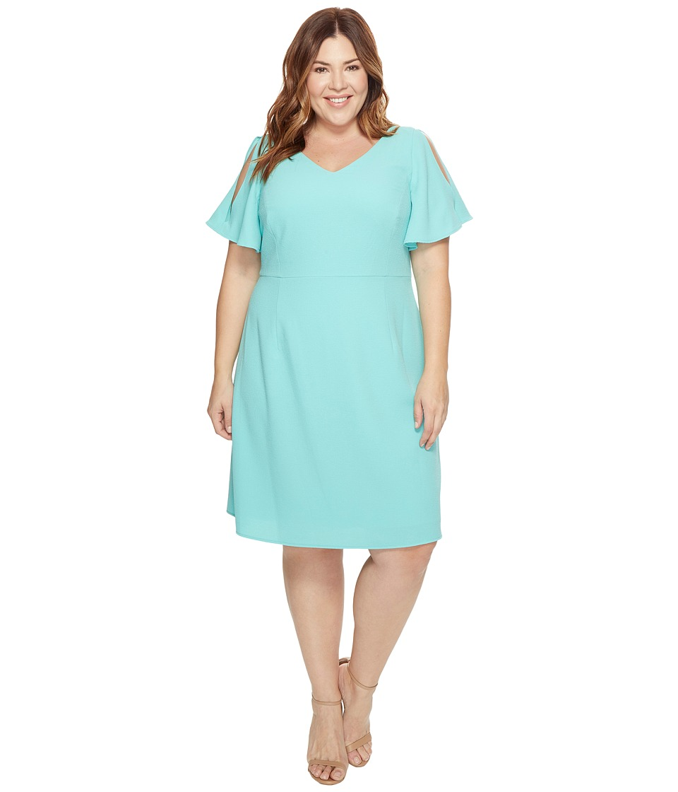 Adrianna Papell - Plus Size Cold Shoulder Flared Sleeve Fit and Flare