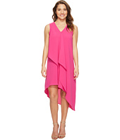 Adrianna Papell - Petite Asymmetrical Front Drape Dress