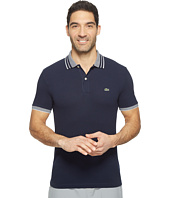 Lacoste - Short Sleeve Semi-Fancy Stretch w/ Fine Stripe Rib Slim