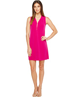Ivanka Trump - Matte Jersey Sleeveless Zipper V-Neck Detail Shift