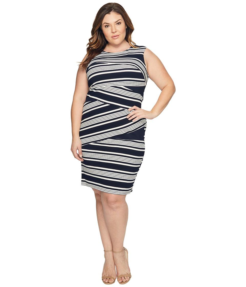 Adrianna Papell - Plus Size Sleeveless Stripe Bodycon Dress