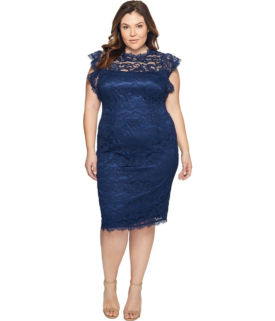 Adrianna Papell - Plus Size Mock Neck, Ruffled Sleeve Lace Sheath Dress