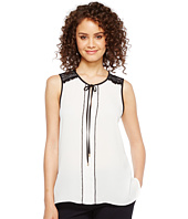 Ivanka Trump - Sleeveless Georgette Neck Tie Blouse with Piping