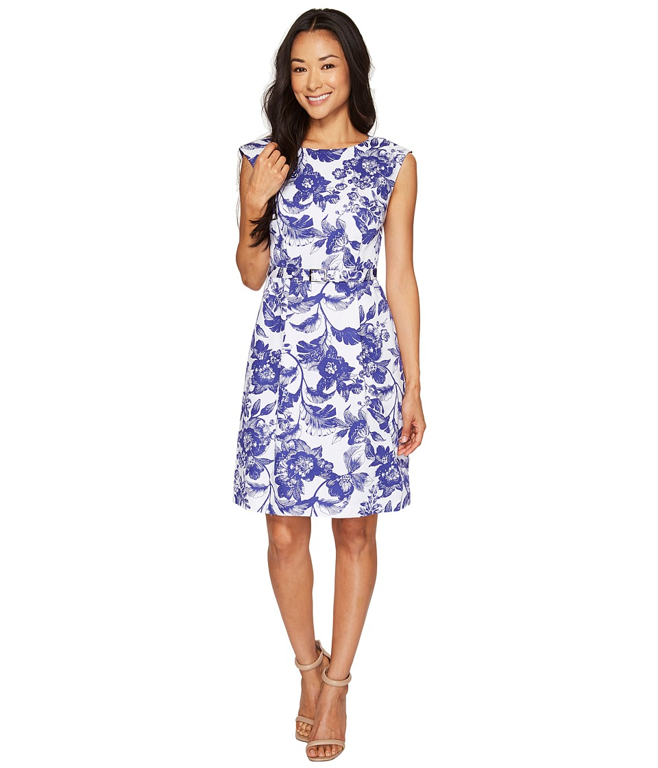 Adrianna Papell Petite Printed Cotton Faille Belted Fit and Flare (Ivory/Cobalt) Women