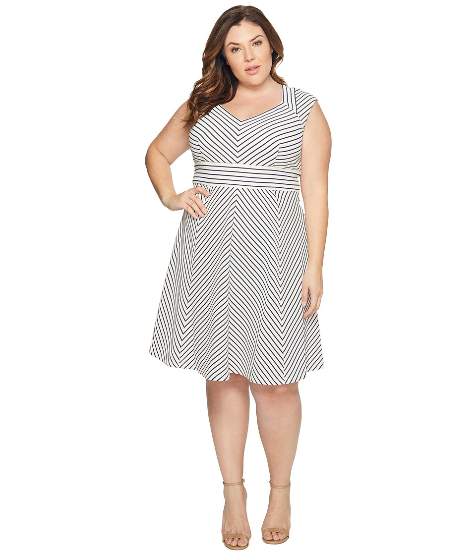 Adrianna Papell - Plus Size Cap Sleeve Stripe Fit and Flare