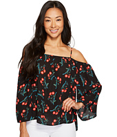 Vince Camuto Specialty Size - Petite Long Sleeve Tropic Spritz Cold-Shoulder Blouse