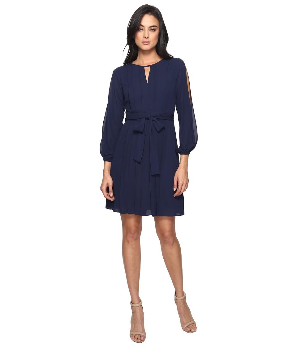 Vince Camuto Georgette Long Sleeve Cold Shoulder Blouson w/ Pleats (Navy) Women