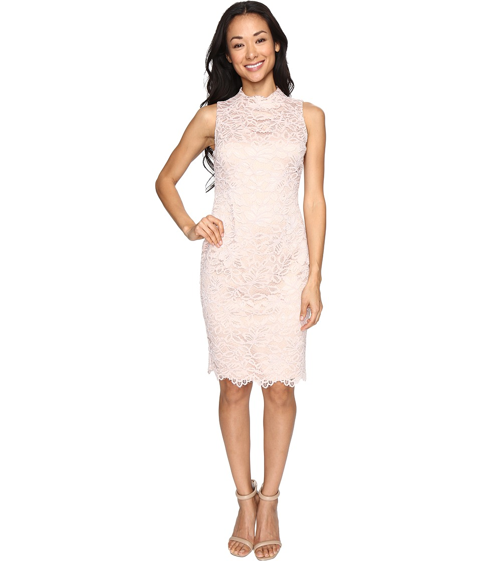 Vince Camuto Lace High Neck Bodycon Dress (Blush) Women