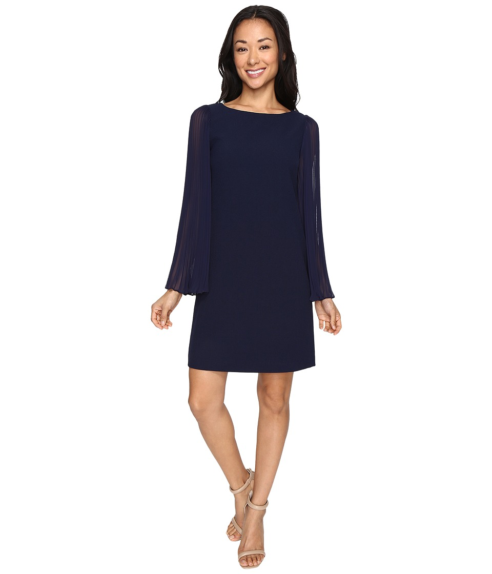 Vince Camuto Crepe Chiffon Shirt Dress w/ Overlay Pleated Sleeves (Navy) Women