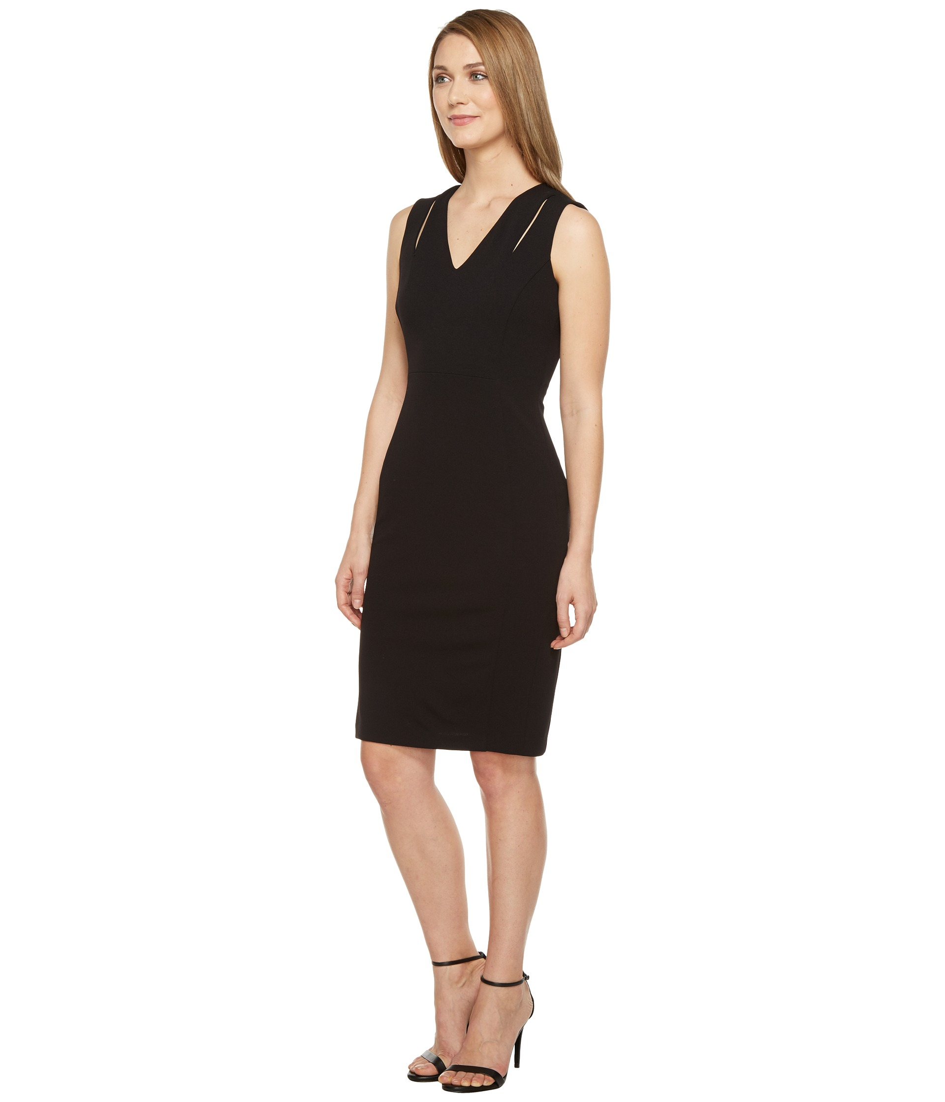 calvin klein sheath dress with shoulder cut outs at. Black Bedroom Furniture Sets. Home Design Ideas