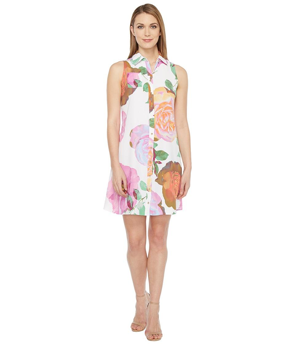 Calvin Klein Floral Button Front Trapiz Dress (Pink Multi) Women