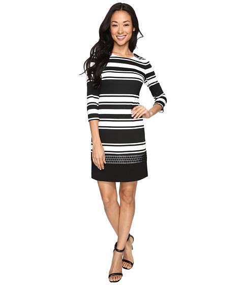 Vince Camuto Stripe Knit 3/4 Sleeve Shift Dress w/ Lace Trim - Black/White