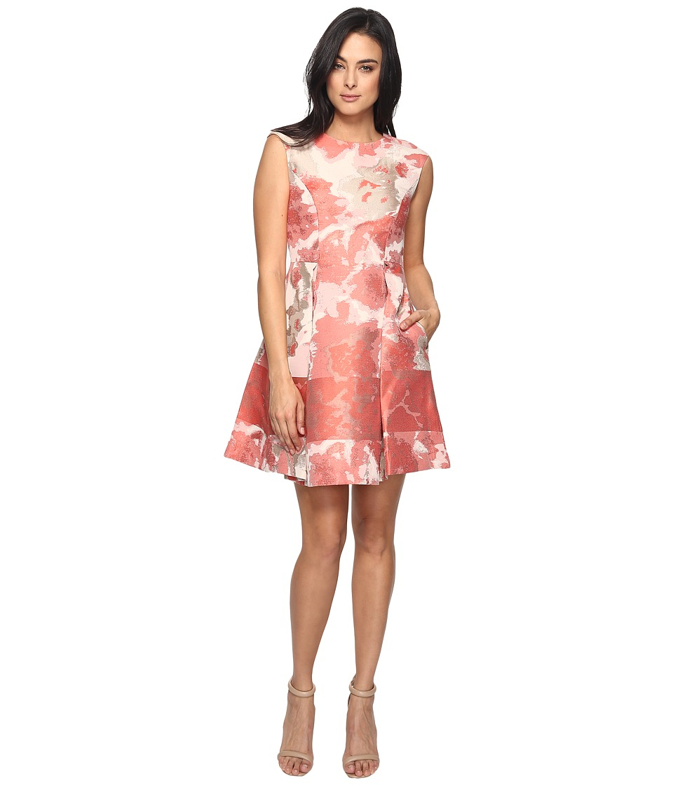 Vince Camuto Jacquard Extended Cap Fit and Flare Dress (Pink) Women