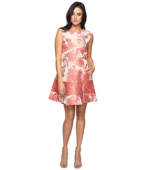 Vince Camuto Jacquard Extended Cap Fit and Flare Dress - Pink