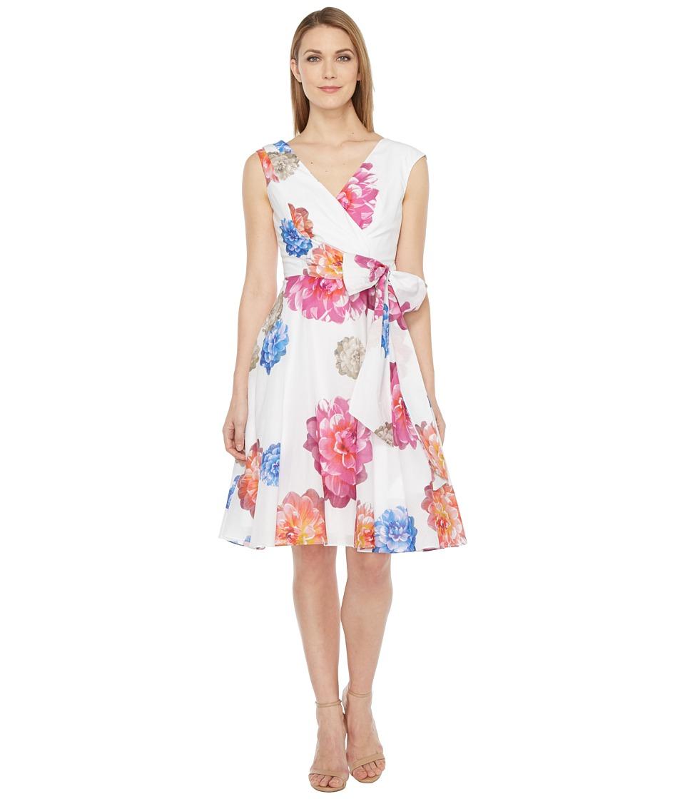 Calvin Klein Floral Printed Cotton Voil Dress (Watermelon) Women