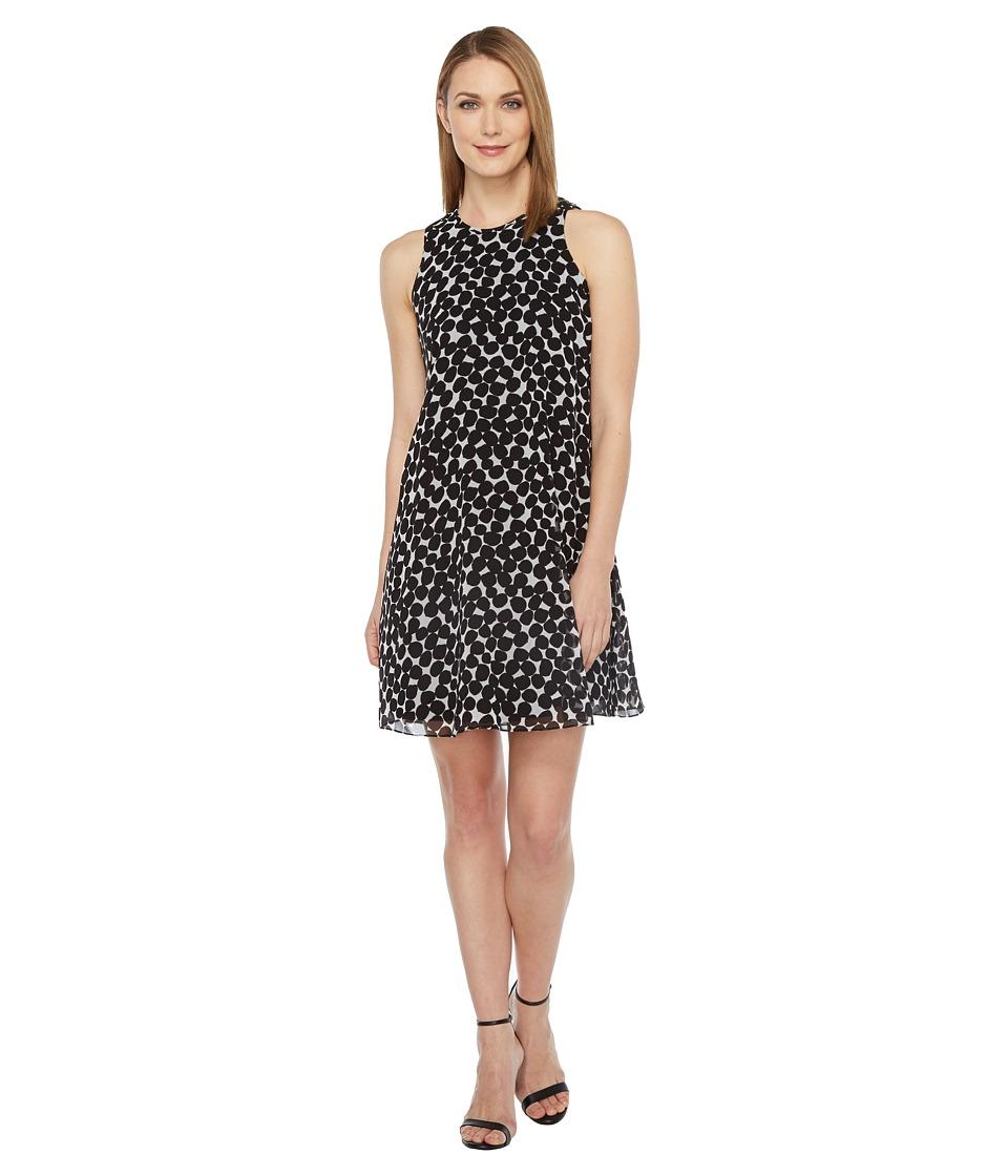 Calvin Klein Polka Dot Trapiz Dress (Black/White) Women