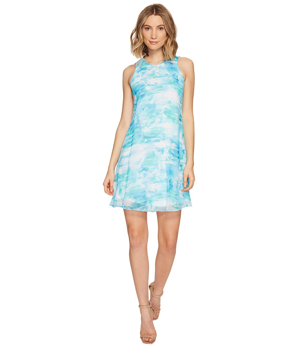 Calvin Klein Blurred Print Trapiz Dress (Lagoon Multi) Women