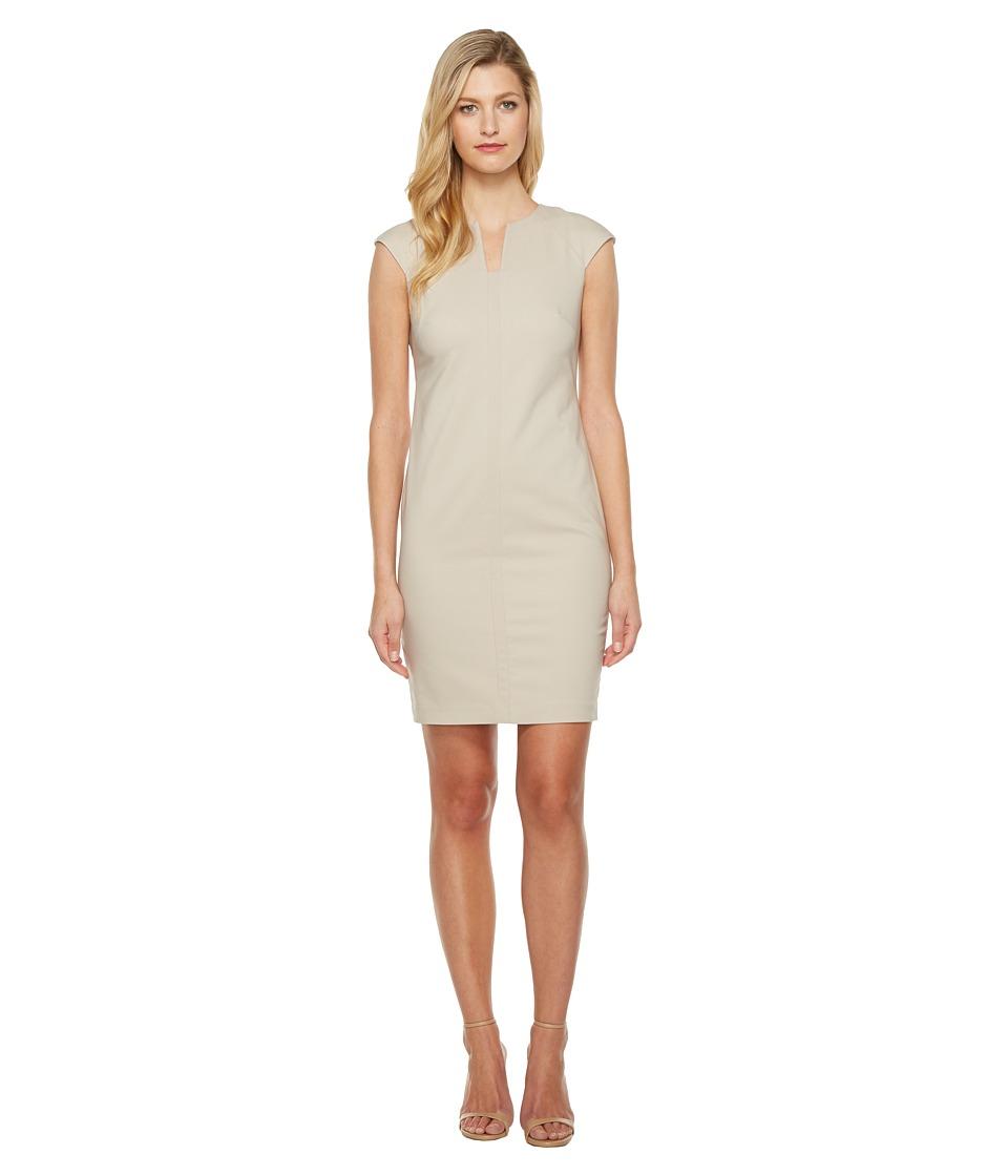 Calvin Klein Cap Sleeve Sheath Dress (Khaki) Women