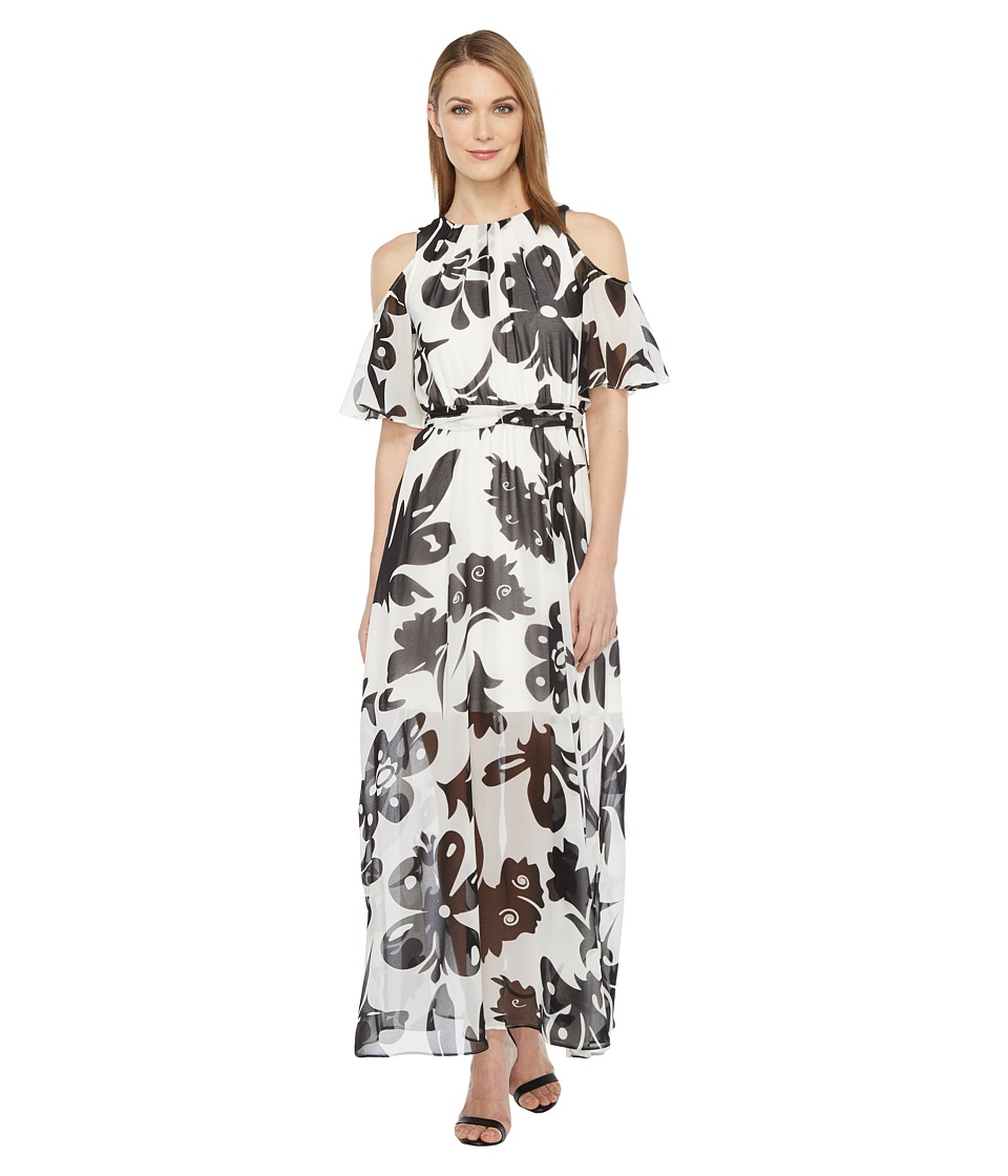 Calvin Klein Pop Over Chiffon Maxi Dress (Black/White) Women