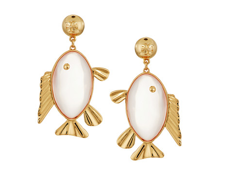 Tory Burch Fish Pendant Earrings - Pink Quartz/Vintage Gold