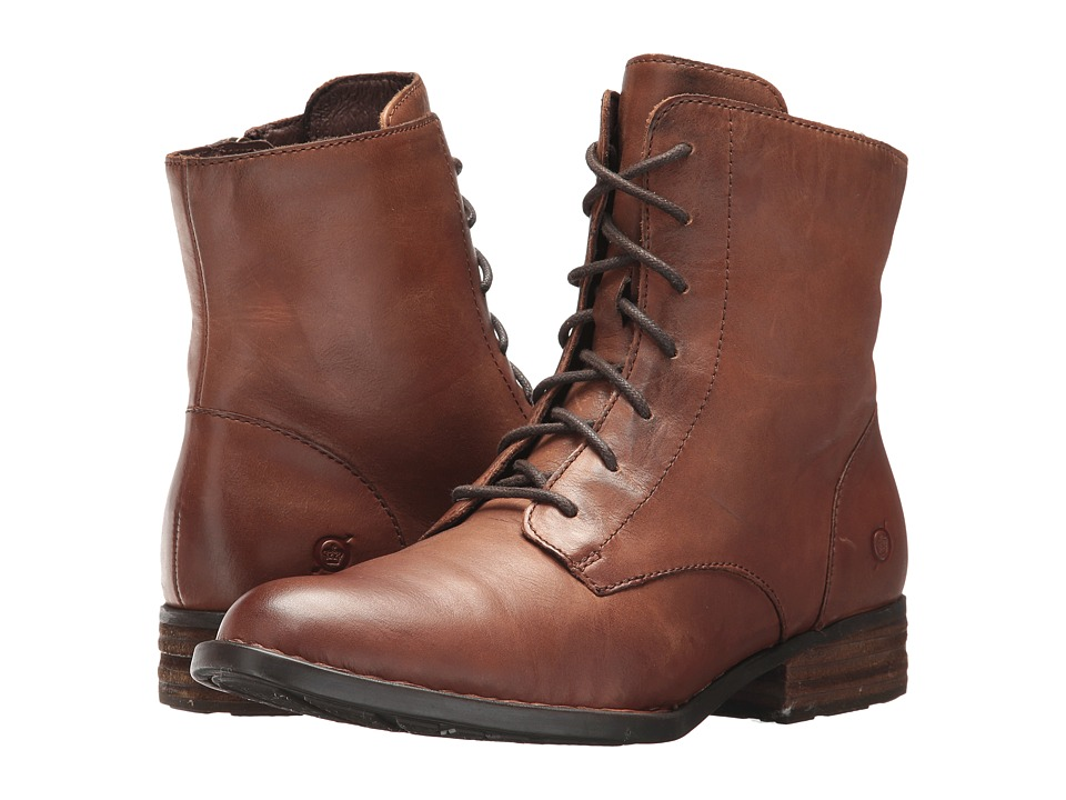 1950s Style Shoes Born - Clements Brown Full Grain Womens Lace-up Boots $165.00 AT vintagedancer.com