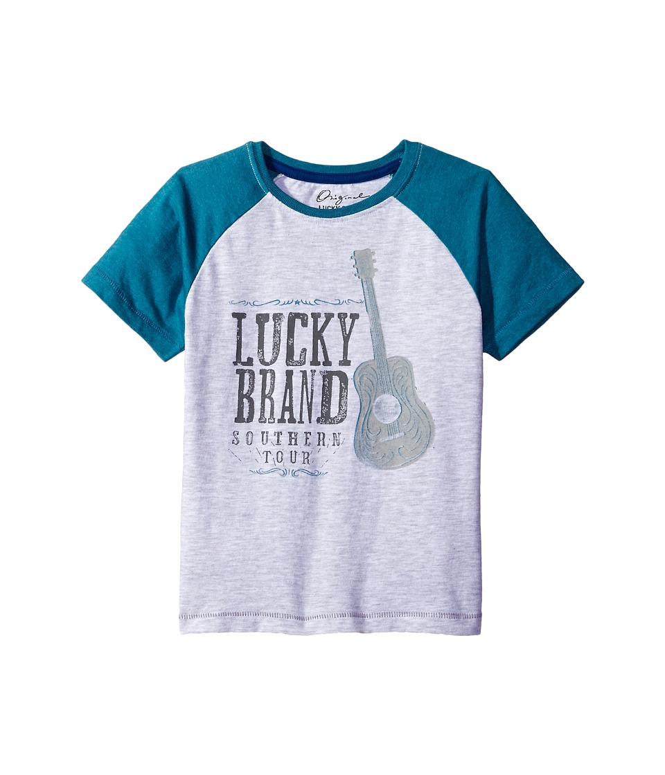 Lucky Brand Kids South Tour Raglan Tee in Heathered Jersey (Toddler) (White Heather) Boy