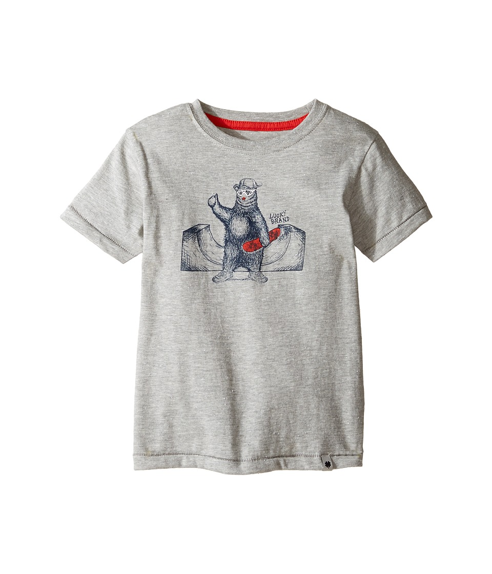 Lucky Brand Kids Skater Bear Short Sleeve Tee in Fleck Jersey (Toddler) (Heather Light) Boy