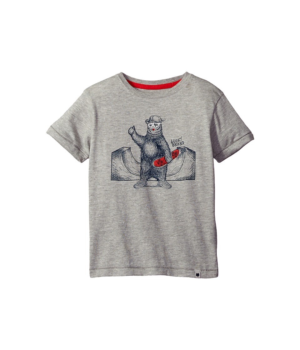 Lucky Brand Kids Skater Bear Short Sleeve Tee in Fleck Jersey (Little Kids/Big Kids) (Heather Light) Boy