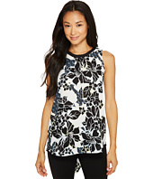 Vince Camuto Specialty Size - Petite Sleeveless Floral Exhibit Back Tie Blouse