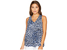 Vince Camuto Specialty Size - Petite Sleeveless Leopard Song V-Neck Drape Front Blouse