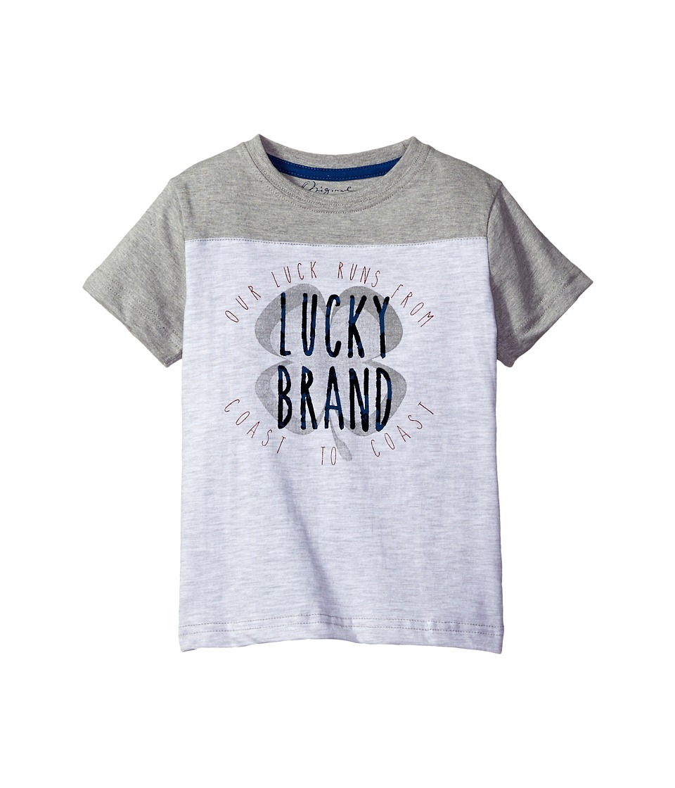 Lucky Brand Kids Coastal Luck Short Sleeve Tee in Slub Heather Jersey (Little Kids/Big Kids) (White Heather) Boy