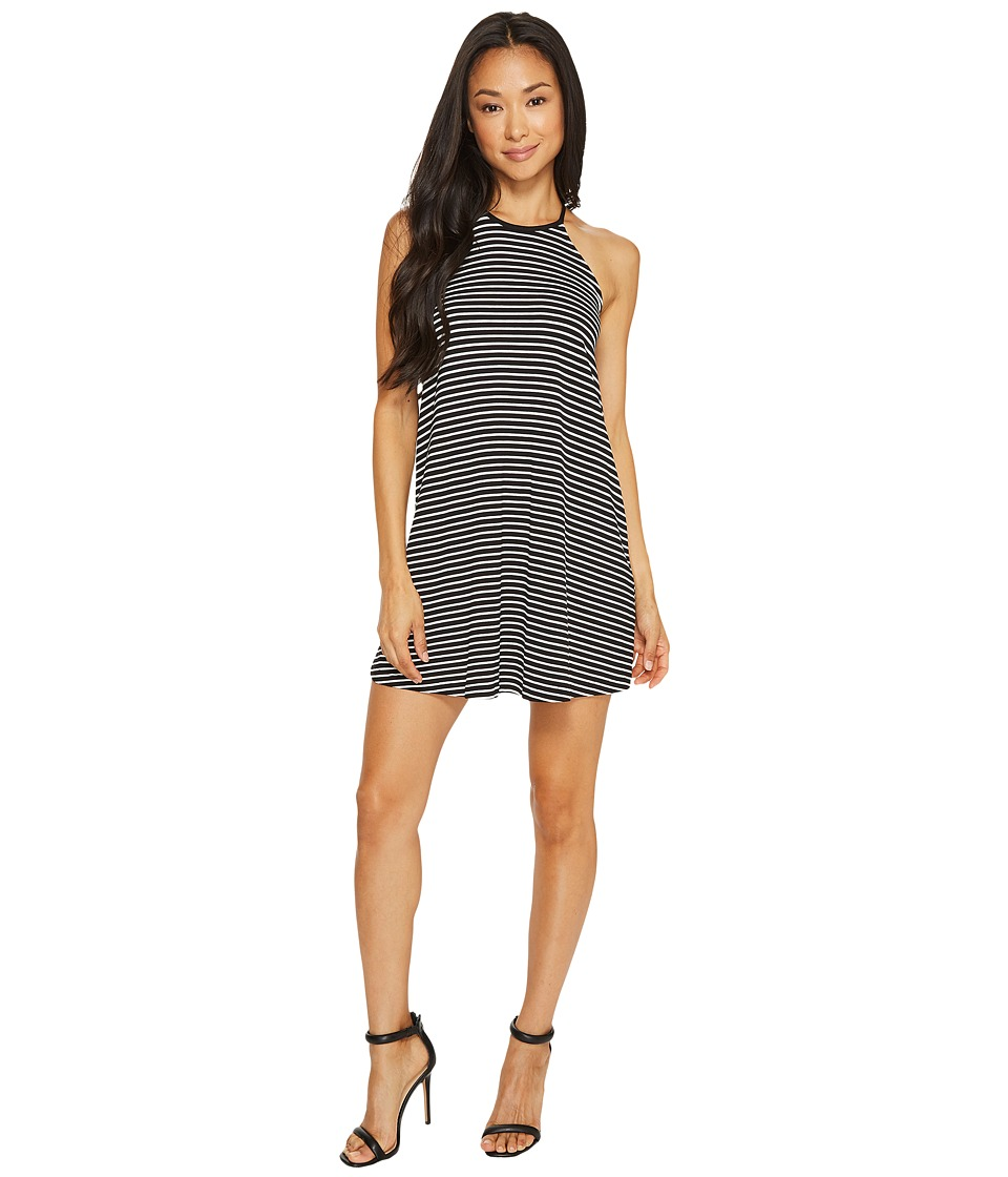 Vince Camuto Specialty Size Petite Sleeveless Simple Stripe Halter Swing Dress (Rich Black) Women