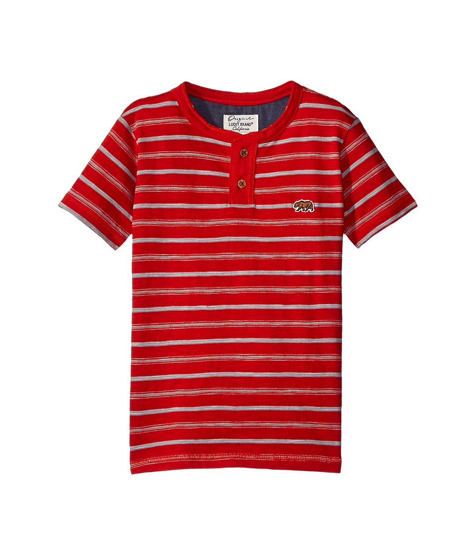 Lucky Brand Kids Offshore Short Sleeve Henley in Slub Jersey (Big Kids) (Poppy) Boy