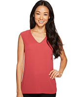 Vince Camuto Specialty Size - Petite Extend Shoulder V-Neck Mix Media Textured Top