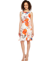 Ivanka Trump - Georgette Sleeveless Ruffle Hem Floral Print Belted Tie Dress