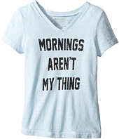 The Original Retro Brand Kids - Mornings Aren't My Thing Short Sleeve V-Neck Tee (Big Kids)