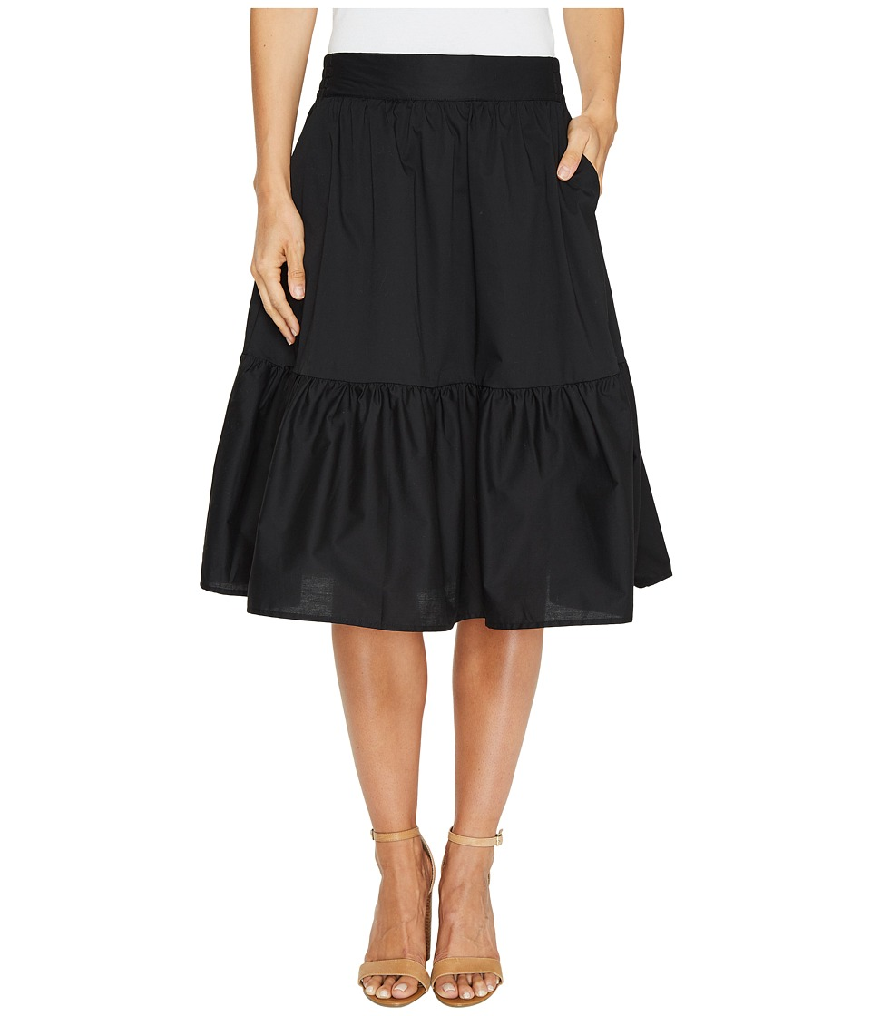 Splendid Poplin Knee Length Skirt (Black) Women's Skirt