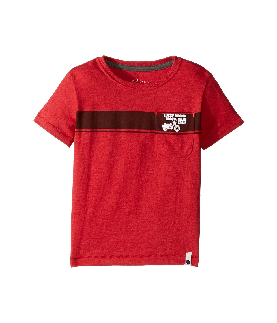 Lucky Brand Kids Moto Tee Heather Jersey Short Sleeve (Toddler) (Barb Red) Boy
