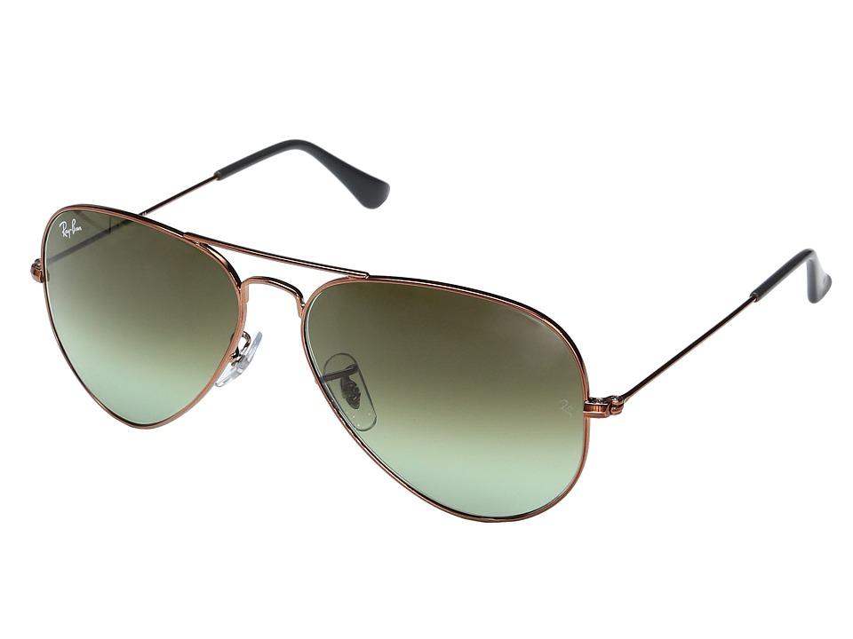 Ray-Ban RB3025 Original Aviator 58mm (Shiny Medium Bronze/Green Gradient Brown) Metal Frame Fashion Sunglasses