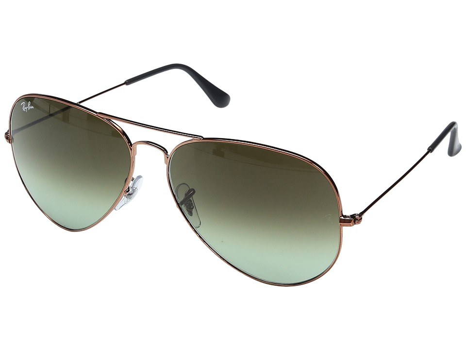 Ray-Ban - 3026 Aviator 62mm (Shiny Medium Bronze/Green Gradient Brown) Sport Sunglasses