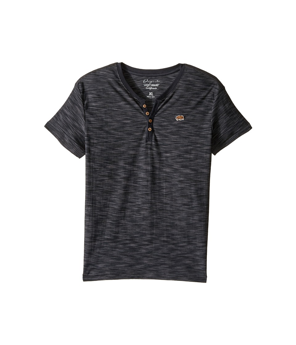 Lucky Brand Kids Quakes Short Sleeve Henley (Big Kids) (Raven) Boy