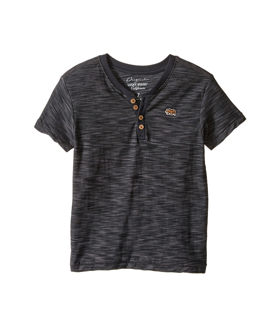 Lucky Brand Kids Quakes Short Sleeve Henley (Little Kids/Big Kids) (Raven) Boy