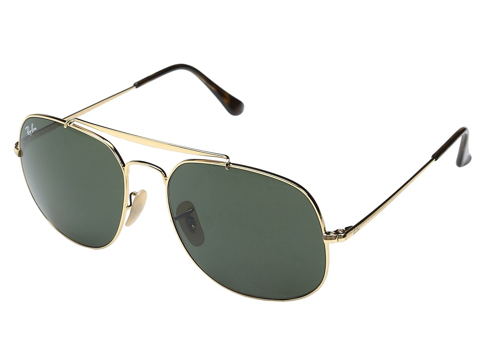Ray-Ban 0RB3561 The General 57mm (Shiny Gold Frame/Classic Green Lens) Fashion Sunglasses